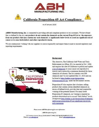 Picture for literature California Proposition 65 Act Compliance