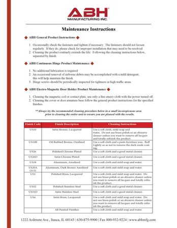 Picture for literature General Maintenance Instructions